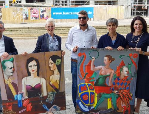 Erlös der Bauzaungalerie-Bilder des Malers Zöffzig geht an die Freiwilligenagentur
